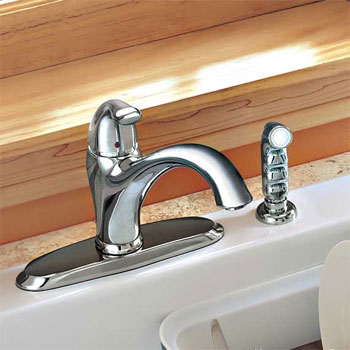 American Standard 4114.001.075 Lakeland Single Handle Kitchen Faucet with Side Spray - Stainless Steel (Pictured in Chrome)