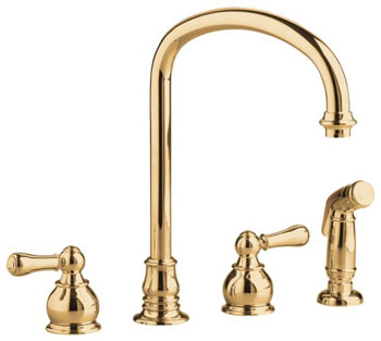 American Standard 4751.732.099 Hampton Bottom Mount Kitchen Faucet - Polished Brass