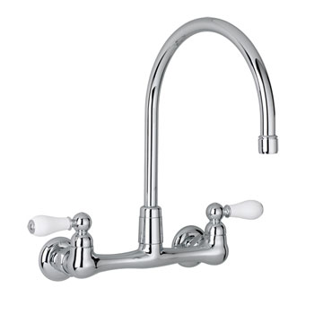 American Standard 7293.252.002 Heritage Wall Mount Kitchen Faucet w/Porcelain Lever Handles - Chrome