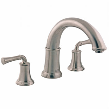 American Standard 7420.900.295 Portsmouth Deck Mount Tub Filler with Lever Handles - Satin Nickel