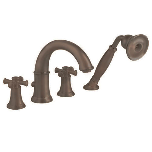 American Standard 7420.921.224 Portsmouth Deck Mount Tub Filler with Cross Handles and Personal Shower - Oil Rubbed Bronze