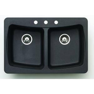 Astracast AL20RZUSSK Alpha Double Bowl Kitchen Sink - Black