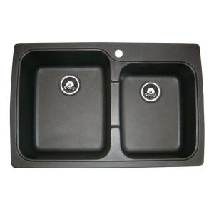 Astracast US20RZUSSK USA 2.0B Double Bowl Kitchen Sink - Metallic Black