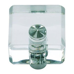Atlas Homewares 3145-CH Optimism Lucite Square Knob - Polished Chrome