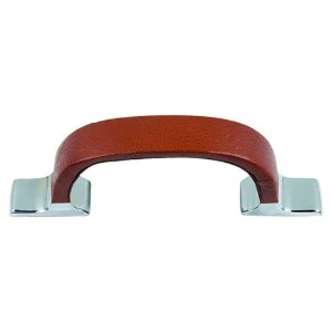 Atlas Homewares 3177-CH Hamptons Expresso Leather Pull - Polished Chrome