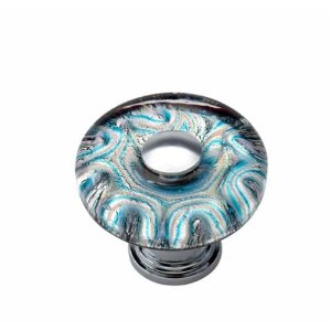 Atlas Homewares 3204-CH Dream Glass Galaxy Round Knob - Polished Chrome