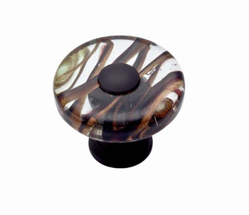 Atlas Homewares 3206-O Dream Glass Milky Way Round Knob - Oil Rubbed Bronze
