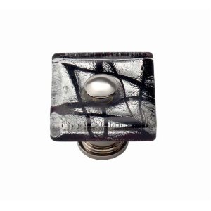 Atlas Homewares 3207-CH Dream Glass Eclipse Square Knob - Polished Chrome