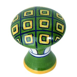 Atlas Homewares 3B100 Green/Yellow Geo Ceramic Knob - Ceramic
