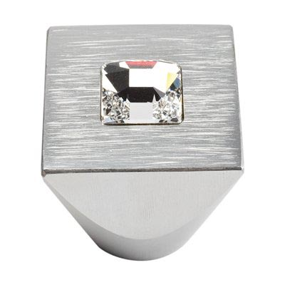 Atlas Homewares 3195-MC Square Centered Crystal Knob - Matte Chrome
