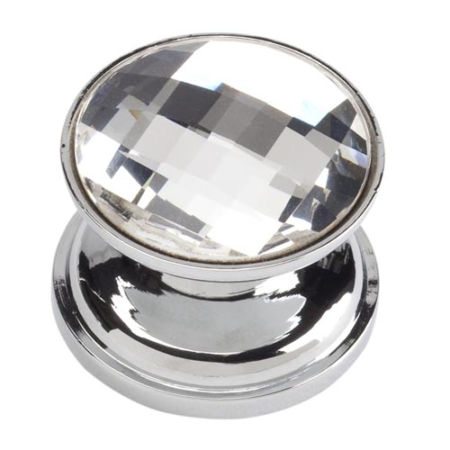 Atlas Homewares 3197-CH Crystal Collection .87-Inch Round Large Crystal Knob - Matte Chrome