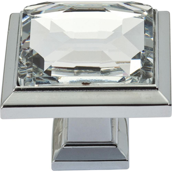 Atlas Homewares 340-CH Legacy Crystal Square Knob - Chrome