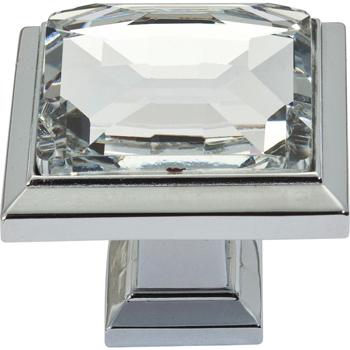 Atlas Homewares 340 Ch Legacy Crystal Square Knob Chrome