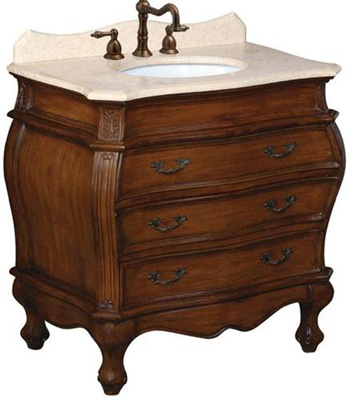 Belle Foret 80033R 36 in Single Basin Vanity with Cream Marble Top - Aged Walnut