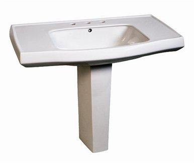 Belle Foret BFCPL8WH Contemporary Pedestal Lavatory Basin Only - White