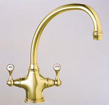 BFT289 Franke Biflow Faucets Traditional Kitchen Faucet - Satin Nickel w/ NuBrass (Pictured in NuBrass)