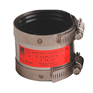 2 inch Cast Iron or Plastic or Steel to 1-1/2 inch Plastic or Steel Band-Seal Specialty Coupling