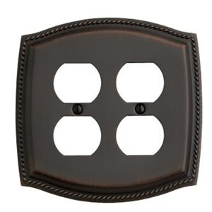 Baldwin 4794.112.CD Rope Design Double Duplex Outlet Solid Switch plate - Venetian Bronze