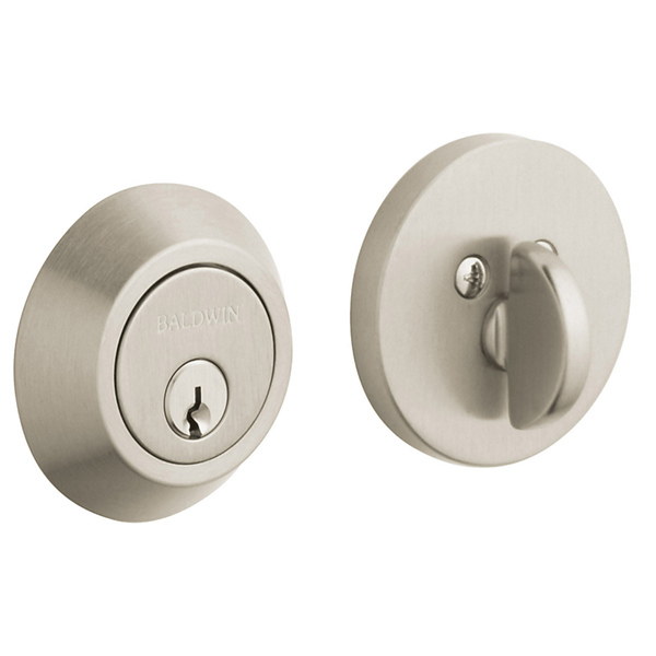 Baldwin 8241.150 Contemporary Turnpiece Patio Deadbolt Thumb Turn Only - Satin Nickel