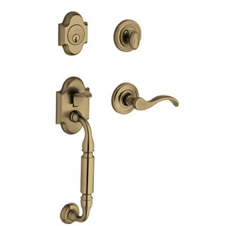 Baldwin 85305.003.LENT Canterbury Left Handed Single Cylinder Keyed Entry Handleset - Polished Brass (Pictured in Satin Brass and Black)