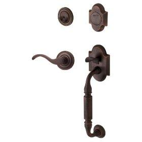 Baldwin 85305.412.RFD Canterbury Sectional Trim Right Hand Dummy Handleset with Wave Lever - Distressed Venetian Bronze