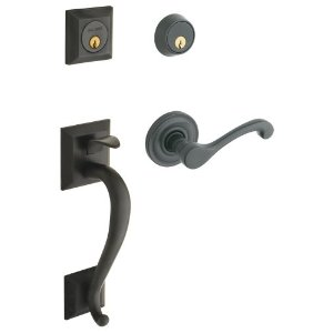 Baldwin 85320.102.LDBL Left Handed Madison Double Cylinder Handleset with Classic Interior Lever - Oil Rubbed Bronze