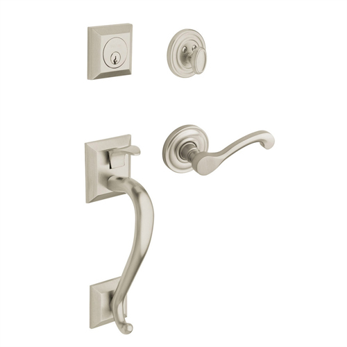 Baldwin 85320.150.RENT Right Handed Madison Single Cylinder Handleset with Classic Interior Lever - Satin Nickel