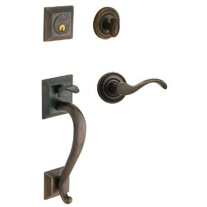 Baldwin 85320.402.LENT Left Handed Madison Single Cylinder Handleset with Classic Interior Lever - Distressed Oil Rubbed Bronze