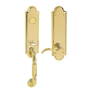Baldwin 85350.003.LFD Manchester Emergency Exit Dummy Handleset with Wave Lever - Lifetime Polished Brass