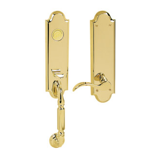 Baldwin 85350.003.RFD Right Handed Manchester Dummy Set Handleset with Wave Interior Lever - Lifetime Polished Brass