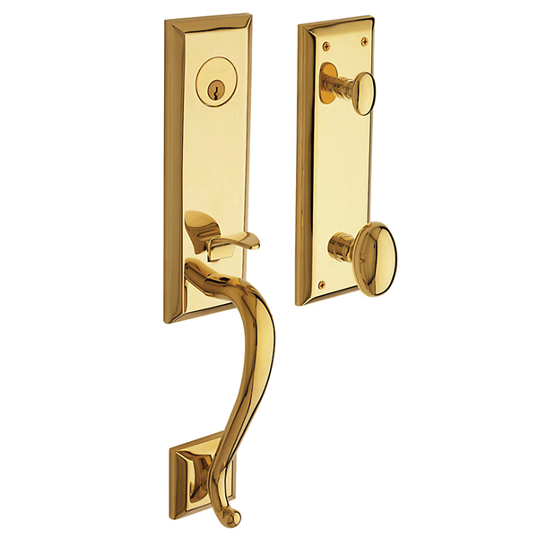 Baldwin 85355.RENT Right Handed Stonegate Single Cylinder Handleset - Lifetime Polished Brass