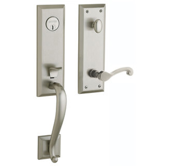 Baldwin 85355.150.LENT Left Handed Stonegate Single Cylinder Handleset with Classic Interior Lever - Satin Nickel