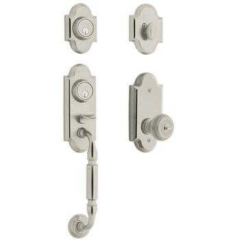 Baldwin 85365.056.2ENT Ashton Single Cylinder Solid Brass Sectional Handleset with Colonial Interior Knob - Lifetime Polished Satin Nickel
