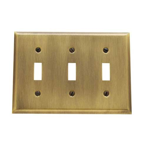Baldwin 4770.050.CD Triple Toggle Residential Switchplate - Satin Brass and Black
