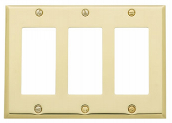 Baldwin 4740030CD Triple GFCI Residential Switchplate - Polished Brass