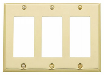 Baldwin 4740112CD Triple GFCI Residential Switchplate - Venetian Bronze (Pictured in Polished Brass)