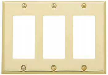Baldwin 4740150CD Triple GFCI Residential Switchplate - Satin Nickel (Pictured in Polished Brass)