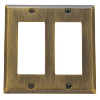 Baldwin 4741030CD Double GFCI Residential Switchplate - Polished Brass (Pictured in Satin Brass and Black)