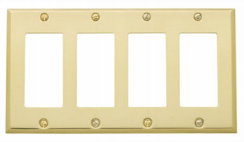 Baldwin 4742030CD Quad GFCI Residential Switchplate - Polished Brass