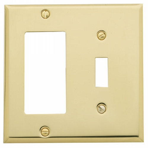 Baldwin 4743150CD Single GFCI/Toggle Combo Residential Switchplate - Satin Nickel (Pictured in Polished Brass)