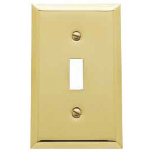 Baldwin 4751030CD Single Toggle Switchplate - Polished Brass