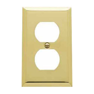 Baldwin 4752030CD Double Outlet Residential Cover Plate - Polished Brass
