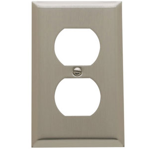 Baldwin 4752150CD Double Outlet Residential Cover Plate - Satin Nickel