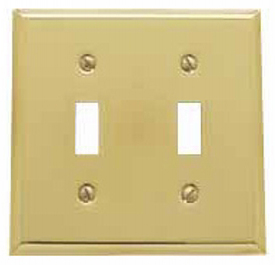 Baldwin 4761030CD Double Toggle Residential Switchplate - Polished Brass