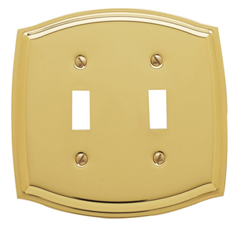 Baldwin 4766030CD Colonial Double Toggle Switchplate - Polished Brass