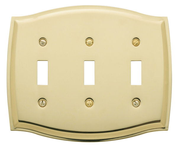 Baldwin 4780030CD Colonial Triple Toggle Residential Switchplate - Polished Brass