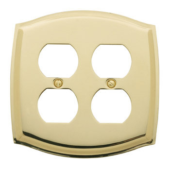 Baldwin 4781030CD Colonial Quad Outlet Residential Cover Plate - Polished Brass
