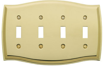 Baldwin 4782030CD Colonial Quad Toggle Residential Switchplate - Polished Brass