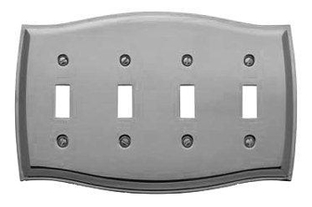 Baldwin 4782150CD Colonial Quad Toggle Residential Switchplate - Satin Nickel