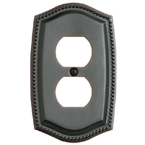 Baldwin 4789112CD Rope Double Oulet Residential Cover Plate - Venetian Bronze